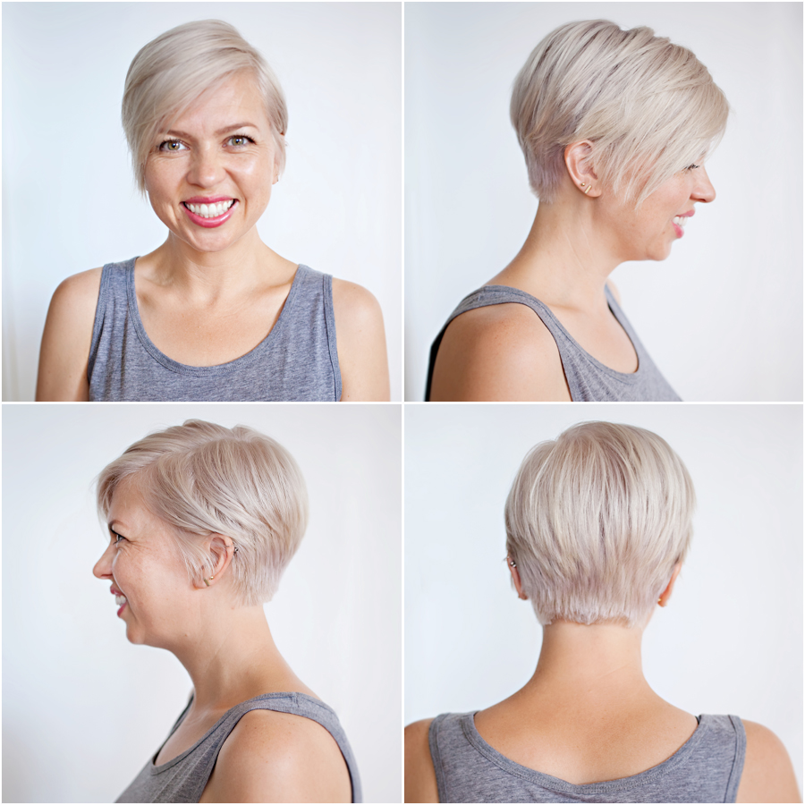 mom style, short hair, pixie haircut, blonde hair, pixie 360
