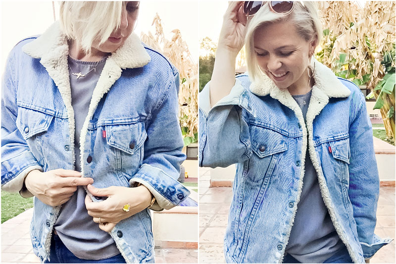 mom style, friday confessions, vintage, levis sherpa denim jacket