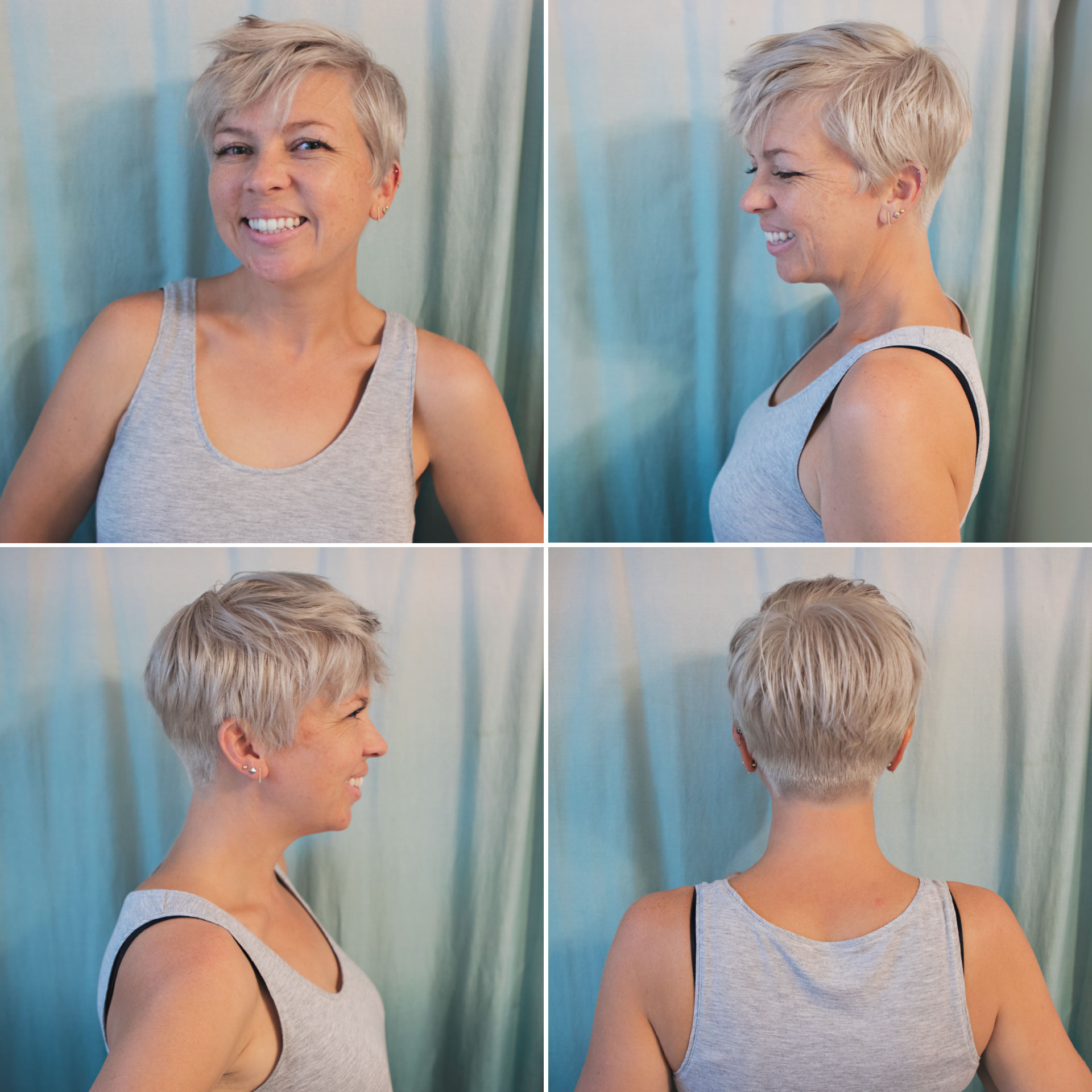 short blonde hair care, hairstory, new wash, amika bust your brass, blonde hair, pixie, pixie 360, short hair