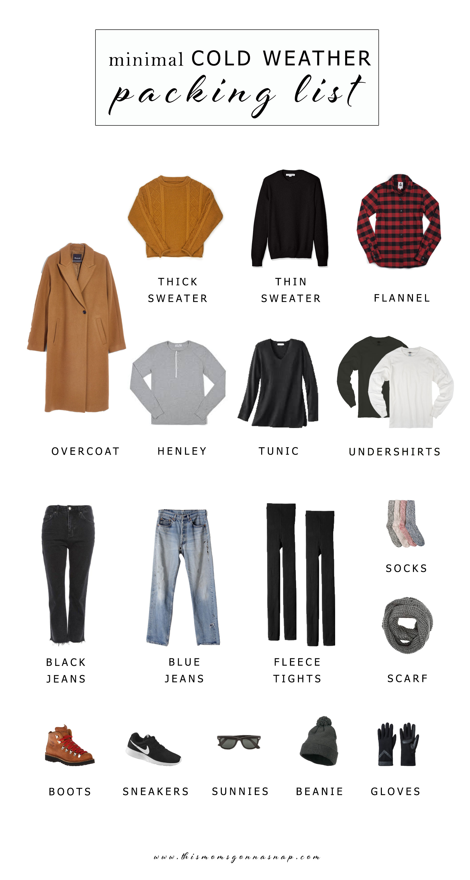 minimal cold weather packing list, packing list for the midwest, packing for winter in a carry-on, winter essentials